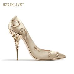 Women Shoes · HZXINLIVE Elegant Satin Women Pumps with Metal Leaves High  Heels Wedding Pumps Brand Design Pointed Toe 6510abf67217