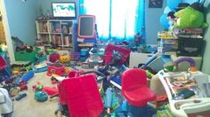 Colton's room after his birthday party.