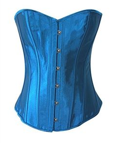 9e3d2ac2cc0 Chicastic Sky Blue Satin Sexy Strong Boned Corset Lace Up Bustier Top -  X-Large