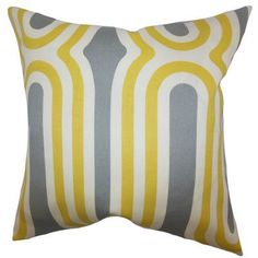 The Pillow Collection Persis Geometric Bedding Sham Size: Queen, Color: Yellow
