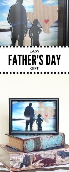 DIY Shadowbox - easy gift for anytime of year - You can personalize the state and heart for the city. Easy Father's Day Gifts, Simple Gifts, Fathers Day Gifts, Christmas Presents For Men, Easy Diy Crafts, Kids Crafts, Father's Day Celebration, Diy Shadow Box, Daddy Day