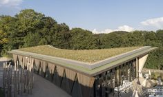 LOCALARCHITECTURE designed La Garenne zoos entrance pavilion, a prefab structure constructed from sustainably sourced wood.