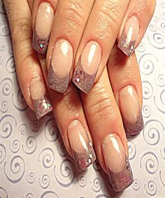 Plane Glittery Nail Manicure for Long Nails