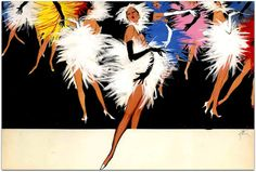 cartazes de Rene Gruau para o Lido e os cabarets   A partir de 1956, dedicou-se ao Lido (ele projetou para este estabelecimento até 1994), Moulin Rouge , a partir de 1961, o Casino de Paris , Jacques Fath , a empresa Boussac dono da Christian Dior, Eminence , Blizzand ( impermeáveis);   http://sergiozeiger.tumblr.com/post/110097829948  Durante sua carreira, 167 marcas de luxo usaram suas ilustrações