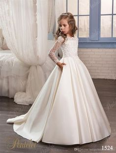 wedding dresses for little girls 2017 pentelei cheap with long sleeves and pockets appliques satin ivory flower girl dresses