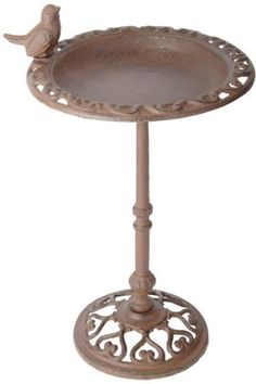Esschert Design USA FB165 Cast Iron Standing Bird Bath by Esschert Design USA. $28.05. Made of decorative cast iron. Cast iron birdbath on stand with decorative bird. Provides relief and needed water on hot summer days. Place this beautiful bird bath in view of your window and enjoy watching the activity of the birds as they splash and drink. The cast iron design will add style add charm to your patio, garden or yard, while providing the outdoor birds with much needed wa...