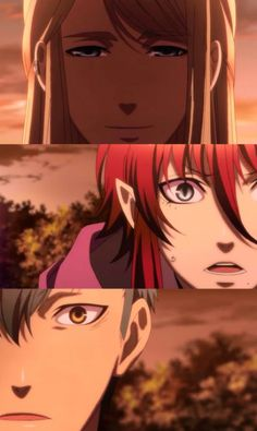 When Balder was about to jump off the cliff. -- Anime, Kamigami no Asobi, sad moments, feels, scenes, Norse gods, Balder, Loki, Thor