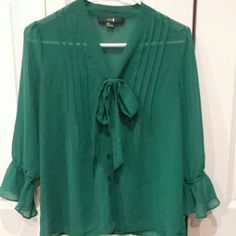 SALE Forever 21 sheer green blouse, Small Pleated front with tie, three quarter length ruffle sleeves.  Lays beautifully, great top for the holidays! Good as new, only worn a handful of times. Fits true to size. Forever 21 Tops Blouses