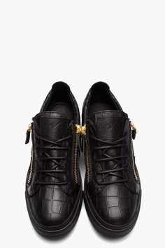GIUSEPPE ZANOTTI BLACK Croc-embossed Leather low-top sneakers