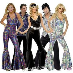 1970'S DISCO FEVER MEN'S & LADIES FANCY DRESS COSTUMES SIZE SMALL - LARGE