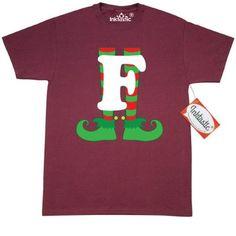 1070c6b72e56e Inktastic Christmas Elf Feet Letter F Monogram T-Shirt Red And Green Holiday  Cute Kids Elves Name Alphabet Santa Initial Monogrammed Hat Mens Adult  Clothing ...