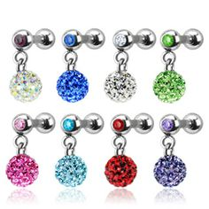 "Ferido 3mm Eternity Balls Paved with Swarovski Crystals Drop Down Tragus 16g Cartilage 1/4"" Barbell with Matching Gem Stone"