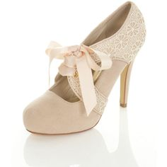 Sendia Nude Crochet Town Shoe (£56) ❤ liked on Polyvore featuring shoes, pumps, heels, sapatos, zapatos, high heels, women, nude pumps, lace heel shoes and nude footwear