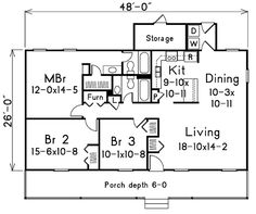 First Floor Plan of Ranch   House Plan 86951