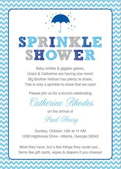 Blue Baby Sprinkle Shower Invitation / Blue by HappyHeartPrinting