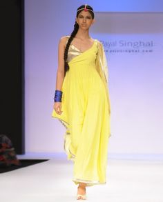Acid Yellow Suit with Asymmetrical Hem- Buy Best of Payal Singhal,Suits Online | Exclusively.in