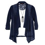 Girls 7-16 IZ Amy Byer 3/4-Length Sleeve Lace Back Cozy Top with Necklace