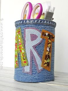 Denim Covered Pencil Can - CraftsbyAmanda.com