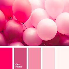Monochrome pink palette emanates tenderness and romance. It can be used in the design of festive decor: easy and free. It is perfect for creating of make-u.