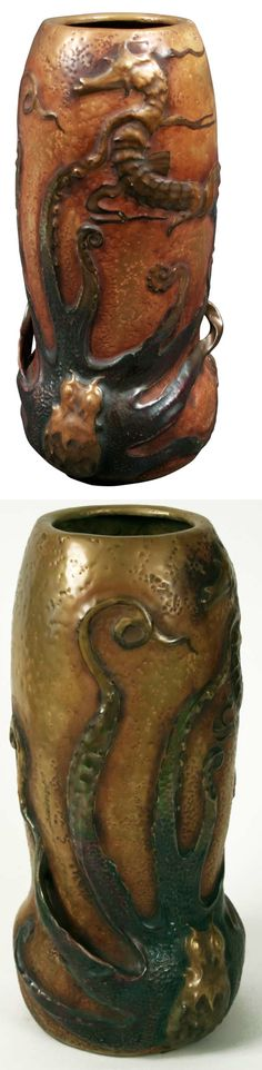 AMPHORA POTTERY vase with octopus attacking seahorse, by Eduard Stellmacher, impressed AMPHORA and crown mark, 16 in H.  |  available for $23,000