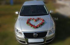 Les roses vin rouge pour decoration de voiture de mariage