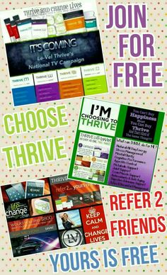 Start living the life you deserve!! Clean energy, mental clarity, joint support, immune support, mood enhancer, weight loss!! Thrive is life changing!! www.healthylevelbod.Le-Vel.com  www.facebook.com/LevelBrands