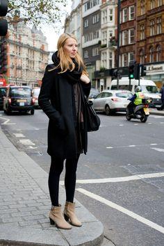 Neutral booties & black