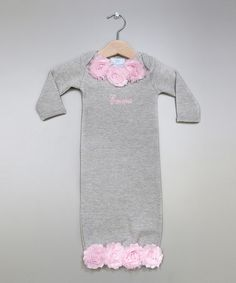 Take a look at this Gray & Pink Rose Personalized Gown - Infant on zulily today!