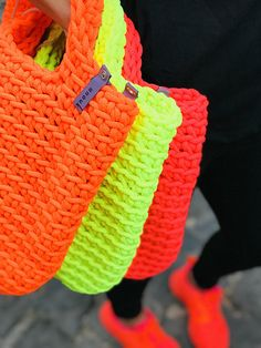Crochet Bag Knitted Handbag NEON PINK color Scandinavian Style