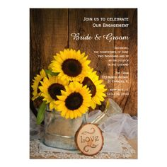 Sunflowers Garden Watering Can Engagement Party Custom Invites