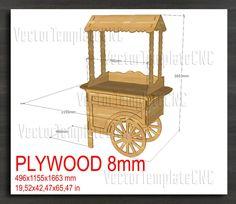 Cnc Plans, Woodworking Plans, Vendor Cart, Sweet Carts, Candy Cart, Flower Cart, Laser Machine, Cardboard Crafts, Woodworking