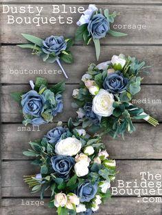 Bridal Bouquet Blue, Silk Wedding Bouquets, Blue Wedding Flowers, Blue Bridal, Flower Bouquet Wedding, Wedding Corsages, Silk Flowers, All Flowers Name, Boquet