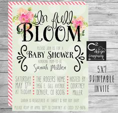 In Full Bloom Baby Shower Invitation by cSquaredDesignCo on Etsy