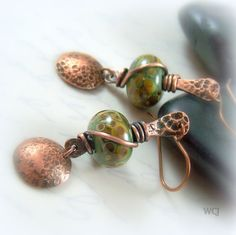 Hammered Copper Earrings  Olive Green by WillowCreekJewelry, $32.00
