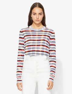 Multi-coloured cotton Tie Dye Striped Knit Top from Proenza Schouler. Lavender Tie, Tie Dyed, Striped Knit, Proenza Schouler, Knitwear, Fitness Models, Ready To Wear, Knitting, Long Sleeve