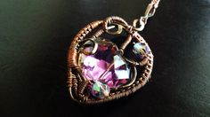 OOAK Wire Wrapped Iridescent-Purple Czech by TheeEnchantedChest