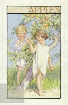'Apples' - little girl offering apple to little boy by apple tree.