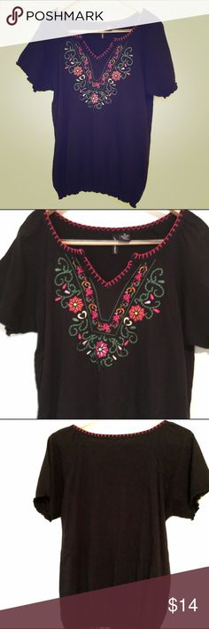 ❤️$10 SALE❤️ Black Embroidered Floral Shirt Bust:20'Length: 24' Gathered/elastic at bottom :) Jason Maxwell Tops Blouses