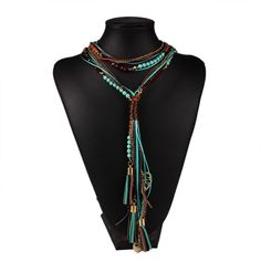 Long facet beaded necklaces in multi layer. Available in red and blue.