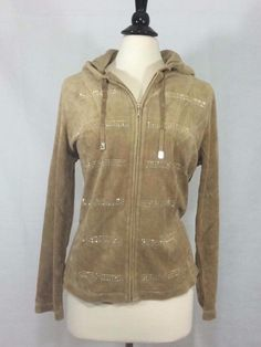 NEW CHICO'S $109 ZENERGY Velour Embellished Stripe Jacket 2 = 12/14 CAMEL NWT #Chicos #DesignerFullZipJacket