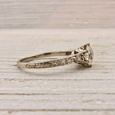 95 Carat Old European Cut Diamond Engagement Ring New York Vintage Antique Estate Jewelry Erstwhile Jewelry Co NY Vintage Art Deco Rings, Wedding Rings Vintage, Antique Engagement Rings, Solitaire Engagement, Engagement Jewellery, Tiffany Engagement, New York Vintage, Diamond Rings, Diamond Cuts
