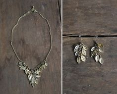 golden leaf jewelry / jewelry set / leaf necklace/ Allen Company Inc on Etsy