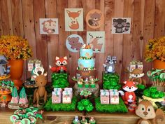 Baby Shower Table Decoration Ideas Animals First Birthdays 32 Best Ideas Baby Shower Table Decorations, Party Decoration, Baby Shower Themes, Baby Boy Shower, Baby Showers, Fox Party, Baby Party, Woodland Theme, Woodland Party