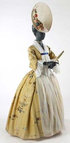 Gown, 1743-1750, brocaded silk taffeta, apron; SOURCE: Museum of London.