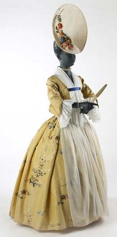 Gown, 1743-1750, brocaded silk taffeta.  Museum of London.