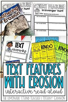 Teach text features with weathering and erosion. Lesson plans, questions, daily tasks, mentor sentence, vocabulary, anchor charts, and more are included with this Interactive Read Aloud Resource.