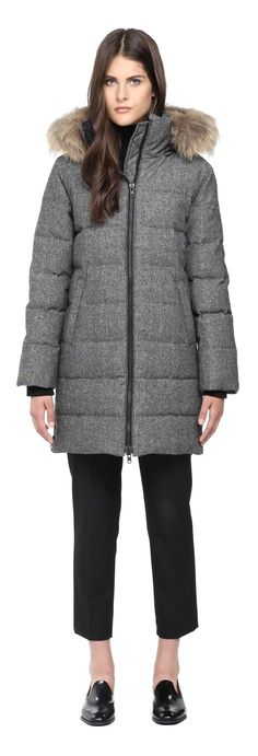 SOIA & KYO - NICKY BLACK WOOL WINTER DOWN PARKA WITH FUR HOOD FOR WOMEN