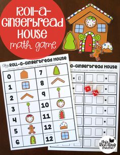 Roll a Gingerbread House Math Game for Math Facts (free) - This Reading Mama
