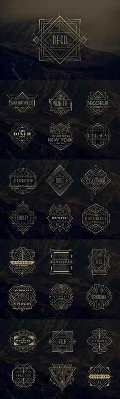 24 Art Deco Badges #design Download: https://creativemarket.com/MehmetRehaTugcu/90810-24-Art-Deco-Badges?u=ksioks