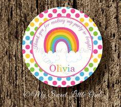 Etiqueta arcoiris cumpleaños arcoiris fiesta por MySweetLittleOwl